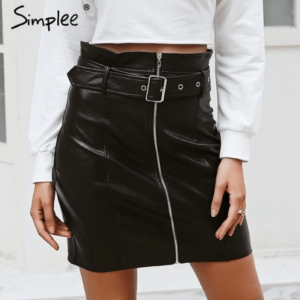 Sash zipper high waist short skirt Sexy black PU leather pencil skirts Autumn winter women skirts streetwear