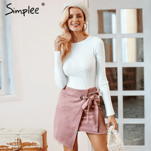 Asymmetrical simple split black skirt Sash suede sexy high waist women skirt 2018 autumn winter casual skirts women - FORSTEP STYLE -MARKETPLACE