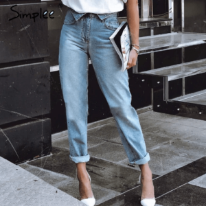 Ankle Length High Waist Blue Denim Women Jeans Casual Pocket Denim Streetwaer Skinny Fall Jeans 2018