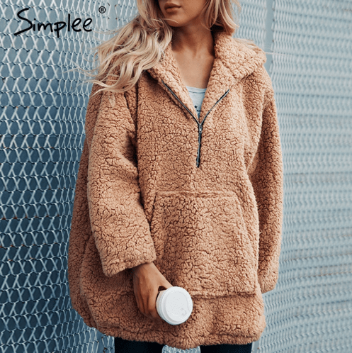 Faux lambswool oversized jacket coat Winter black warm hairly jacket Women autumn outerwear 2018 new female overcoat
