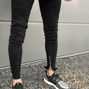 Men's Knee Zipper Destroyed Jeans Men Skinny Stretch Fashion Torn Designer Pencil Black Blue Biker Men Jeans Joggers