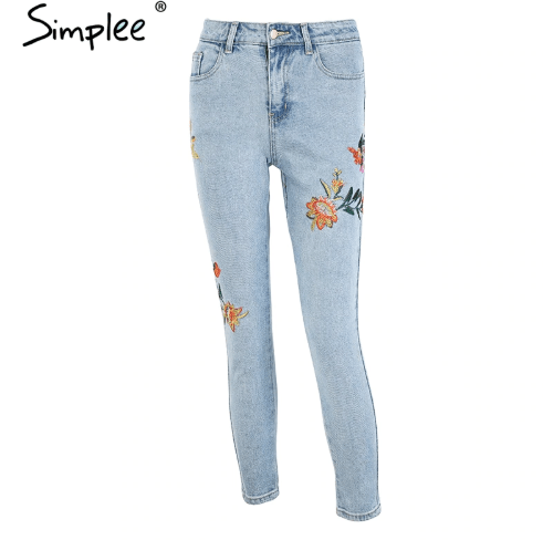 Floral embroidery women jeans pants Casual high waist jeans femme Light blue denim skinny jenas pencil trousers 2018