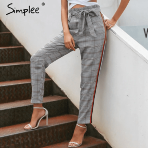 Plaid detachable bow sash casual pants Women Side Stripe lace up trousers Female harem Pants streetwear