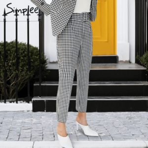 Vintage sashes belt plaid women pants Autumn houndstooth ankle-length casual pants Office ladies pockets trousers 2018