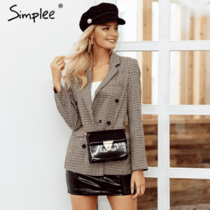 Plaid Office Women Coat Fashion double breasted plaid blazer Long sleeve slim fit office ladies blazer 2018 Autumn jacket women blazers 2018