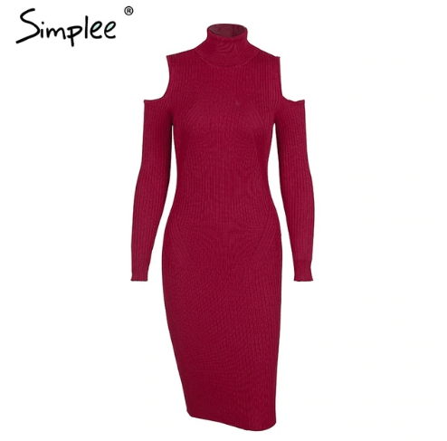 Cold shoulder turtleneck knitting winter dress women Casual pull femme knitted dress Autumn wine red party dress female