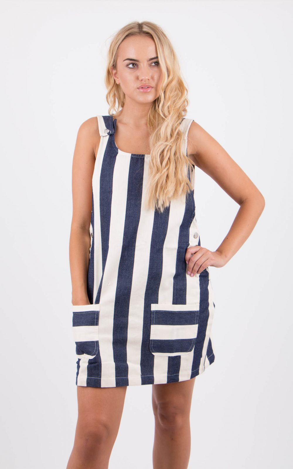 Blue And White Striped Denim Pinafore Womens Dress With Pockets Overall Pinny Stripe Forstep Style Marketplace