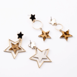 Leopard Star Ring Earrings 2018 Geometric Earrings For Women Hanging Earrings Drop Earring Modern Jewelry