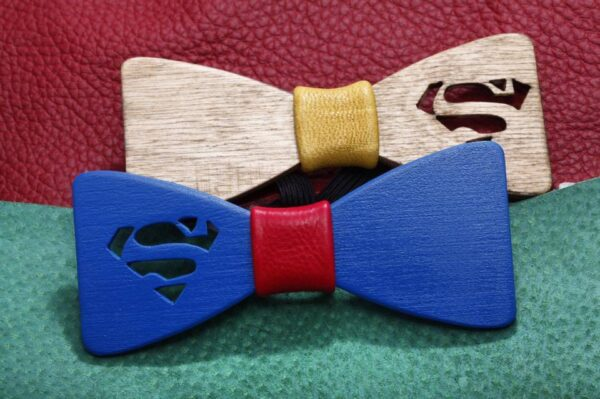 Unique Handcrafted Wooden Bow Ties - bowties made from wood - unique wedding bowtie- supermen logo engraved - men's bow ties made of wood