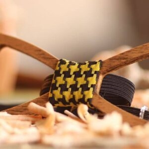 Unique Handcrafted Wooden Bow Ties - bowties made from wood - yellow plaid fabric