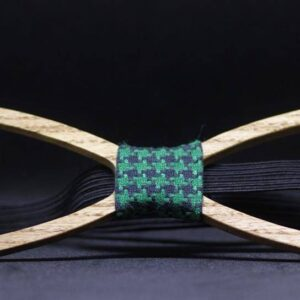 Unique Handcrafted Wooden Bow Ties - bowties made from wood - green polka plaid fabric