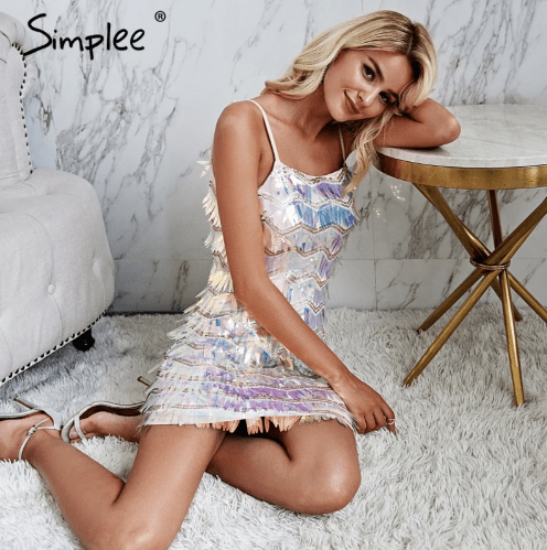 Sexy strap glitter bodycon party dress Mesh splice backless mini dress Geometric elegent high waist dress summer women