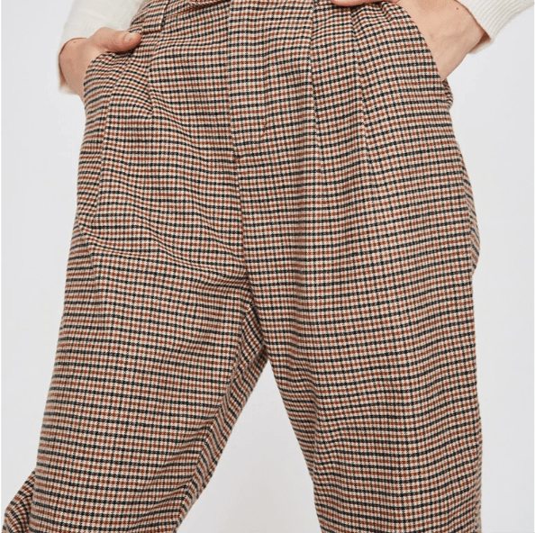 Loose Embroidery High Waist Plaid Pants High Straight -fashion marketplace - forstep style