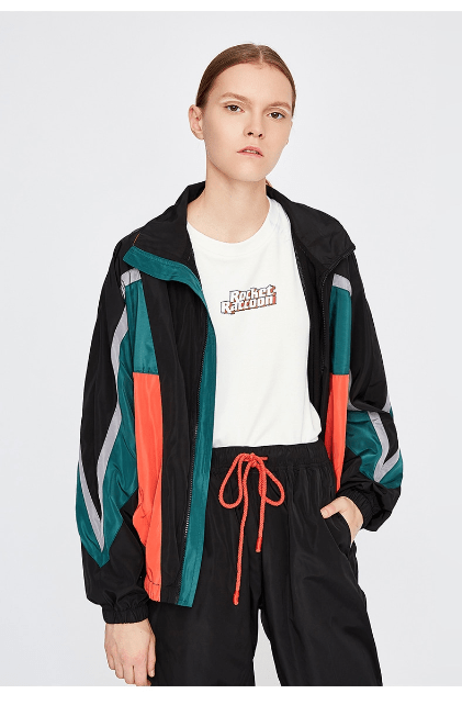 90's Women's Patchwork Short Trench Loose Casual Thin Coat Letter Zipper Women Coat Autumn Plus Size Trench Jacket - Forstep Style Marketplace - Streetwear Jacket