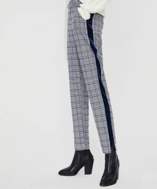Women Plaid Pants Free Cut Female Office Straight Trousers With Side Stripes