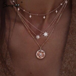 milti layered pendnant necklace - stars-
