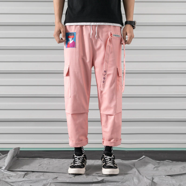 straight fit cargo pants in pink color