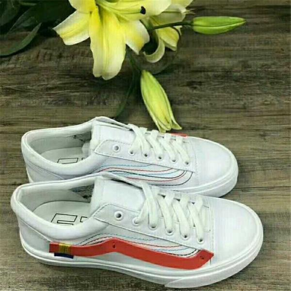 off white-vans shoes - white - red line
