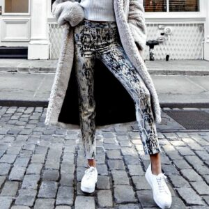 snake print jeans - grey=snake-print-pants-for-women-casual-vintage-90s-fashion-pants