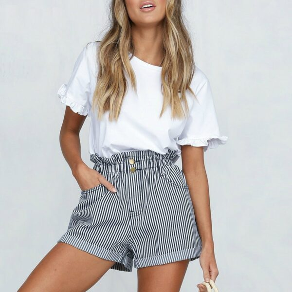 Casual-striped-shorts-women-s-summer-High-wasit-button-loose-fold-bottom-shorts-Sexy-streetwear-1