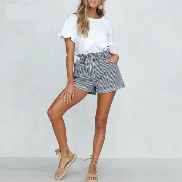 stripped-womens-shorts-summer-high-waist-loose-fit-shorts