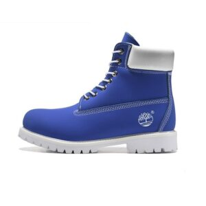 blue and white timberlands