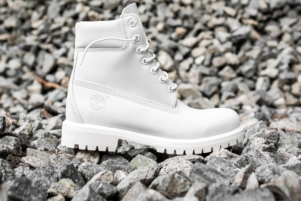 all white timberland