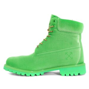 Timberland 6 Off White Velvet Ankle Boots - Green