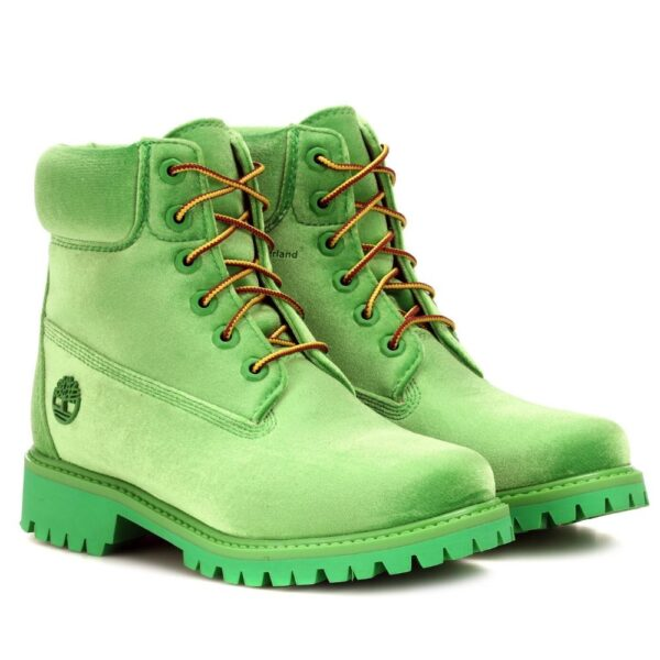 Timberland 6 Off White Velvet Ankle Boots - Green-3