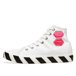 OFF WHITE Vulcanized Hi Top White Fuchsia