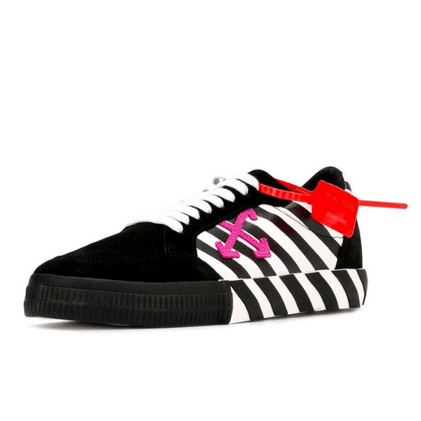 off white shoes with pink logo